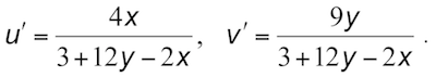 u'v' calculation from xy values